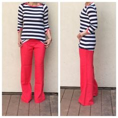 Striped top Rayon jersey striped split cuff coral trim PLEASE USE Poshmark new option you can purchase and it will give you the option to pick the size you want ( all sizes are available) BUNDLE And SAVE 10% ( sizes updated daily ) Tops