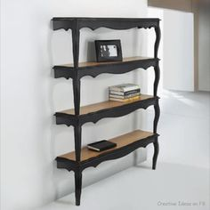 Old tables made into bookshelves