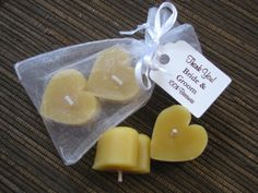 Heart Shaped Beeswax Candle Favors in Organza Bag and Custom Tag Handmade Soap Packaging, Cupcake Favors, Wedding Shower Favors, Candle Favors, Custom Tags, Beeswax Candles, Wedding Cupcakes, Tea Lights, Heart Shapes