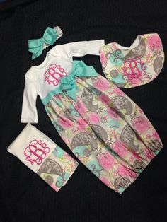Newborn Baby Girl Coming Home Gown; Take Home Outfit; Coming Home Outfit; Pink Aqua and Grey Paisley Gown; Baby girl layette by CutiePatootieKiddos on Etsy Handgemachtes Baby, Baby Girl Newborn, Sew Baby, Going Home Outfit, Take Home Outfit, Paisley, Baby Outfits, Baby Sewing Projects, Sewing Ideas