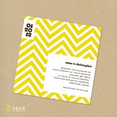 Eco-friendly yellow Chevron invitations from Up Up Creative. Use black ink to match the theme.