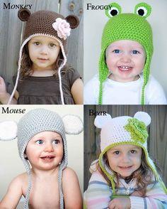 crochet animal hats, bear, monkey, frog, mouse