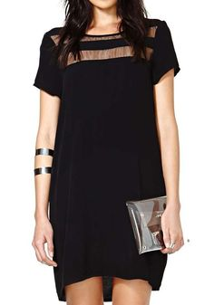 Black Patchwork Grenadine Short Sleeve Loose Polyester Dress