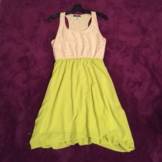 Greenish/yellow Dress This unique dress is perfect for summer! Size L. Slightly high low. Worn ONCE for recruitment. Dresses High Low