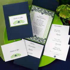 The Purple Mermaid: Filigree Navy Blue and Spring Green Pocket Wedding Invitations