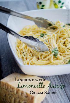 Linguine with Limoncello Asiago Cream Sauce | Carrie's Experimental Kitchen #asiagocheese #pasta #asiagocheesepdo