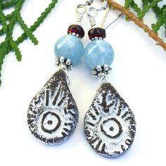 #EvilEye #Handmade #Boho #Earrings, Rustic Tribal Ceramic #Aquamarine Garnet Dangle Jewelry @shadowdog #ShadowDogDesigns #ButterflysPin #Indiemade - $30.00 - SOLD