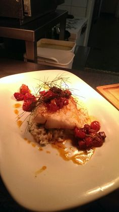 ... hake, fennel & lemon risotto with chorizo & confit tomato butter