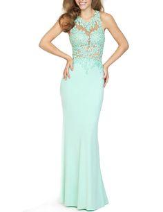 Amazon.com: LovingDress Women's Prom Dresses Scoop Sheath with Applique Long Evening Dress: Clothing