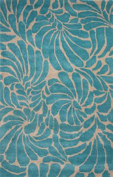 Hand-Tufted Floral Pattern Wool Blue/Green Area Rug ( 8x11 ) contemporary-rugs. [humanely sheered wool version]