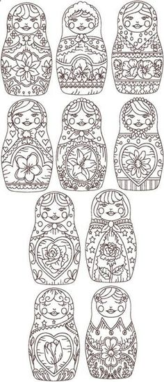 Russian persona? How about these worked at the bottom of a skirt? Redwork Russian Doll Set .