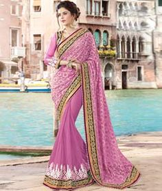 Buy Pink Net Party Wear Saree 77894 with blouse online at lowest price from vast collection of sarees at Indianclothstore.com.