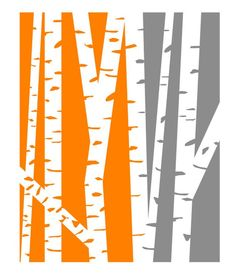 Modern Birch Trees - Orange and Gray 8 x 10 print