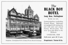 The Black Boy Hotel, Nottingham - advert Local History, Family History, Nottingham City, Council House, Swift Photo, Great British, Black Boys, Old Buildings, Belfast