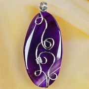 Wire Wrap Purple Onyx Agate Pendant with a choice of a 18 or 24 Silver Plated Chain