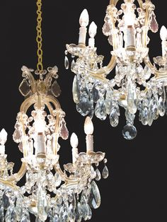 Crystal Chandelier Antiques Lamps Coppia Lampadari Impero Cristallo Vintage