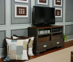 Repurpose your old dresser into a TV stand for the bedroom! spray paint it black!