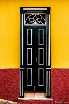 Black and white Door in Olinda, Brazil
