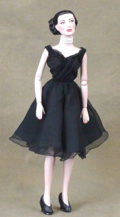 HOLIDAY GIFT SALE!  Black Chiffon Classic Cocktail Dress Tonner Tyler Antoinette Doll Handmade Christmas One of a Kind