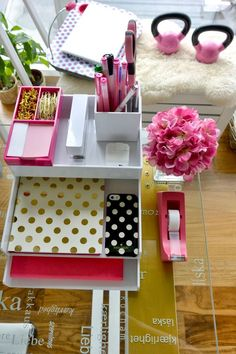 Office organization - Poppin Desk Pink and White Kate Spade Accessories Home Office Desks, Office Decor, Office Cubicle, Office Ideas, Cubicle Ideas, Office Table, Desk Ideas, Office Furniture, Furniture Design