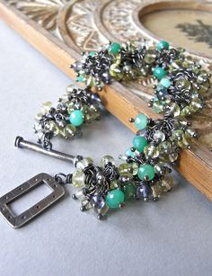The Primavera bracelet - lemon quartz, chrysoprase, iolite, smoky quartz, prehnite, peridot and oxidised sterling silver.