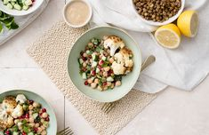 We've combined a bright and refreshing salad with warm roasted veg in this Roasted Cauliflower Lentil Bowl Green Lentils, Food Categories, Rice Bowls, Roasted Cauliflower, Smoothie Bowl, Vegan Gluten Free, Main Dishes, Vegetarian, Healthy