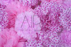 Pompones de papel de seda, paper flowers, dots, lunares,  party, fiestas, AIRE OBJETOS DECORATIVOS, bs as, Argentina