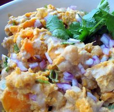 warm, vegan yam (or sweet potato, or butternut squash, or pumpkin) and chickpea salad. looks amazing!