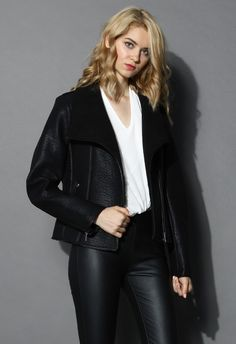 Faux Leather Shearling Biker Coat. #must #have