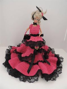 Barbie Doll Spanish Style Hand Crocheted Pink Dress Black Lace