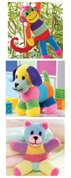 Patchwork Crochet Animals. Scrappy fun! Learn more: https://www.e-patternscentral.com/list.html?mode=list&q=patchwork+animals&source=fcebk