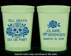 Till Death Do Us Part, Glow Stadium Cups, Sugar Skull Wedding, Floral Wedding, Candy Skull Wedding, Glow-in-the-Dark (380)