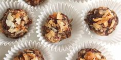 Health-conscious eaters will rejoice at the sight of these chewy treats. Sweetened by fruit and coconut, these bite-sized vegan wonders are packed with protein and fiber. Feel free to substitute other dried fruits and nuts, if you prefer.