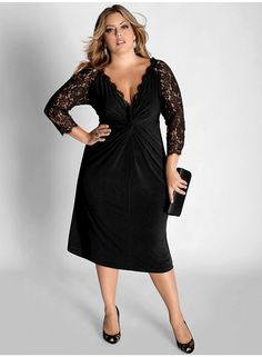 Plus Size Cocktail Dress with Sleeves, black dress with lace sleeves and pleated detail front.It is a simple yet very elegant style Plus Size Cocktail Dresses, Evening Dresses Plus Size, Plus Size Dresses To Wear To A Wedding, Evening Gowns, Evening Party, Dress Skirt, Lace Dress, Knit Dress, Prom Dress