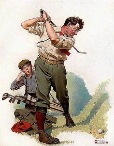 'Golfing' by Norman Rockwell