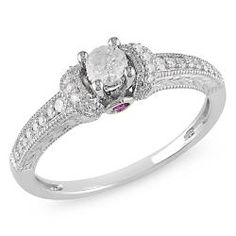 Diamond and pink sapphire ring14-karat white gold jewelry