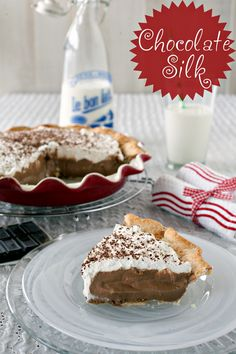 Chocolate Silk Pie from @Modern Mrs Cleaver shown in Rose Levy Beranbaum's Perfect Pie Plate, from HIC, Harold Import Co.