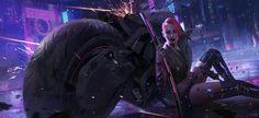 art барышня,красивые картинки,cyberpunk,Sci-Fi,art,арт,Cyborg,Киборг,katana,shuo SHI