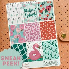 New releases will be coming to the shop on Monday! Here's a peek at the Poolside collection This will be available in a kit sized for EC vertical as well as a la carte sheets. Can't wait to show you the rest! #flamingofrenzy by clever.gal.crafts