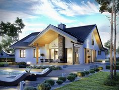 Haus moderne Häuser von Pracownia Projektowa ARCHIPELAG Bringing a Touch of the Orient to Your Back Modern House Plans, Home Fashion, Ideal Home, Exterior Design, Modern Architecture, Future House, Modern Farmhouse, Home And Family, Modern Family House