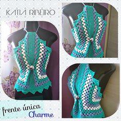 Katia Ribeiro Moda e Decoração Handmade : Frente Única em Crochê Charme