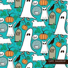 A pets + Halloween pattern by camper & Surface Pattern Designer Erin Powell.