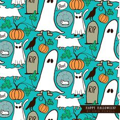 A pets + Halloween pattern by camper & Surface Pattern Designer Erin Powell.