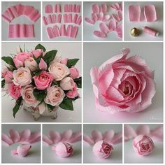 47 ideas for origami rose tutorial bouquets Paper Flowers Craft, Large Paper Flowers, Tissue Paper Flowers, Paper Flower Backdrop, Flower Crafts, Diy Flowers, Fabric Flowers, Rose Tutorial, Paper Flower Tutorial