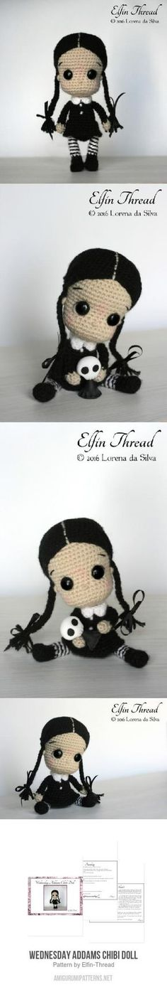 Wednesday Addams Chibi Doll Amigurumi Pattern