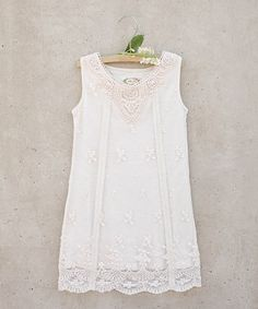 Take a look at this Joyfolie Cream Maggie Embroidered Lace Dress - Toddler & Girls today! Toddler Girl Dresses, Little Girl Dresses, Toddler Outfits, Kids Outfits, Flower Girl Dresses, Toddler Girls, Girls Dresses, Little Girl Fashion, Fashion Kids