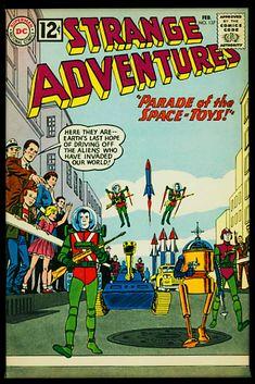 Dc Comic Books, Comic Book Covers, Comic Book Characters, Comic Art, Science Fiction, Scary Alien, Strange Adventure, Silver Age Comics, Space Toys
