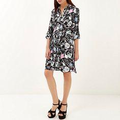 Black floral print shirt dress - shirt dresses - dresses - women