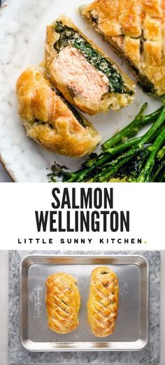 Salmon Wellington or salmon en croute is an easy but fancy savory salmon dish, perfect for entertaining and can be made ahead of time. Salmon Recipes, Fish Recipes, Seafood Recipes, Beef Recipes, Healthy Recipes, Recipies, Salmon Wellington Recipe, Salmon In Puff Pastry, Fancy Dinner Recipes