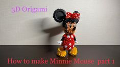 How to make origami Minnie Mouse part 1 3d Paper Crafts, 3d Origami, Mickey Mouse, Crochet Hats, Make It Yourself, How To Make, Youtube, Flowers, Recipes